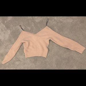 H&M off shoulder pink sweater